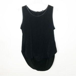 KENNETH COLE Black Faux Leather Trim Tank Blouse